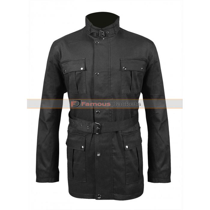 Mens Lewis Creek Motorcycle Biker Waxed Belted Cotton Jacket
