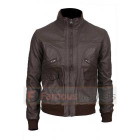 Slim fit Brown Nero Genuine Leather Bomber Jacket