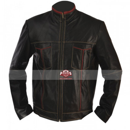 Black Cafe Racer Motorcycle Leather Jacket