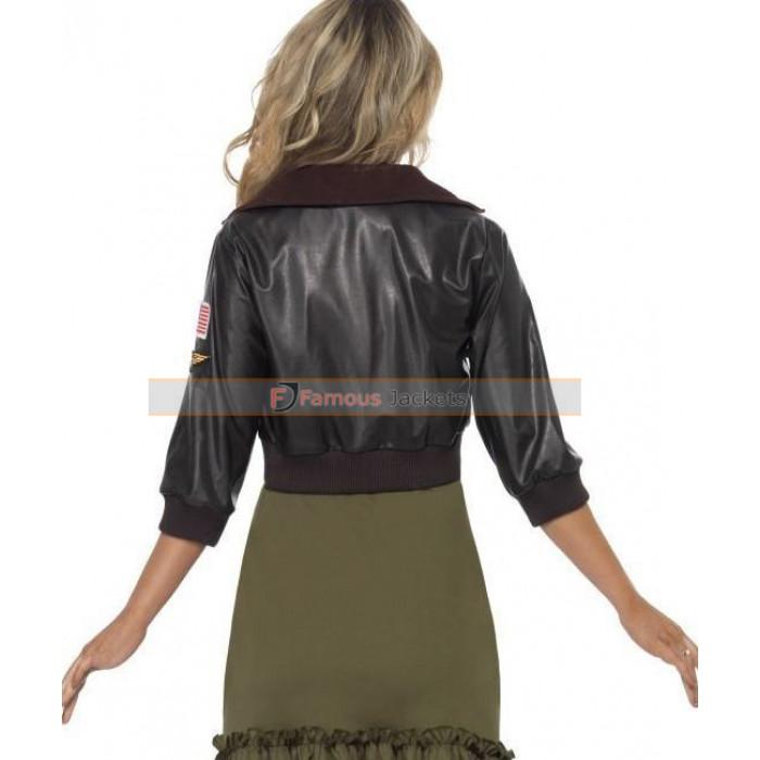 Gun Womens Bomber Black Leather Jacket Costume