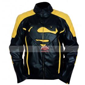 Superman Smallville Yellow Stripes Black Leather Jacket