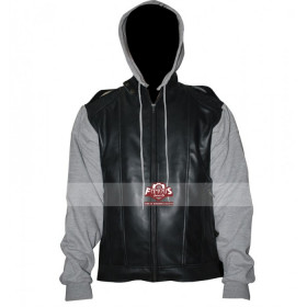 OC Varsity Black Leather Jacket With Jersey Sleeves