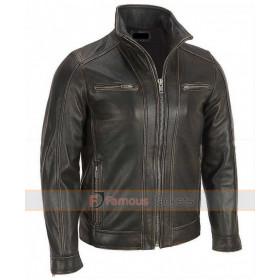 Men's Black Rivet Leather Faded-Seam Jacket