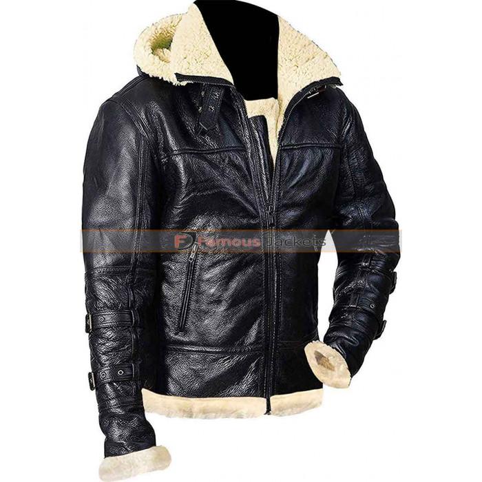 Men Shearling Hooded Black Leather Jacket