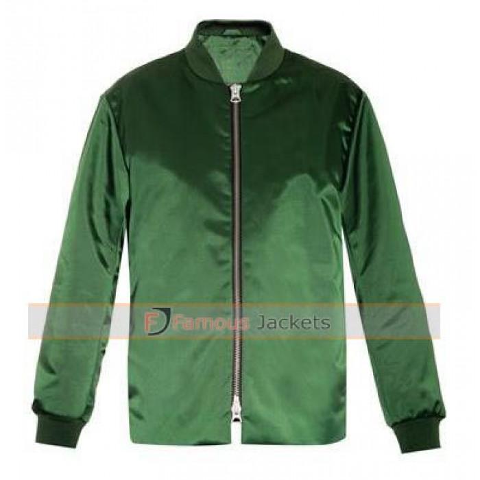 Goulding Emerald Green Bomber Satin Jacket