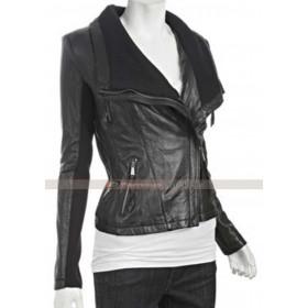 Women's Asymmetrical Black Leather Jacket