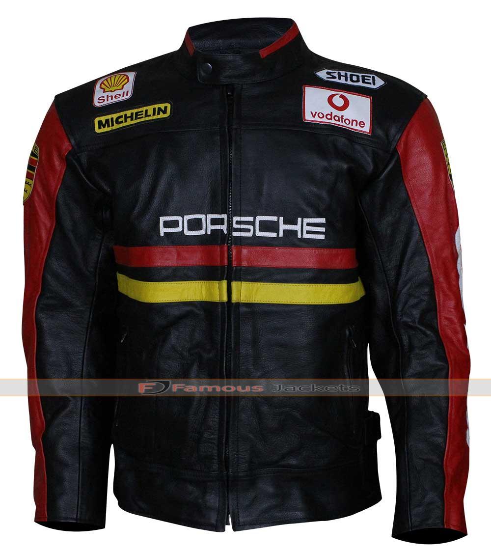 ferrari yellow vintage motorcycle leather jacket