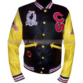 Calgary Stampede Cowboy Roots Black With Yellow Sleeves Leather Jacket