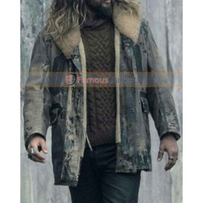 Aquaman Justice League Jason Momoa Distressed Fur Jacket