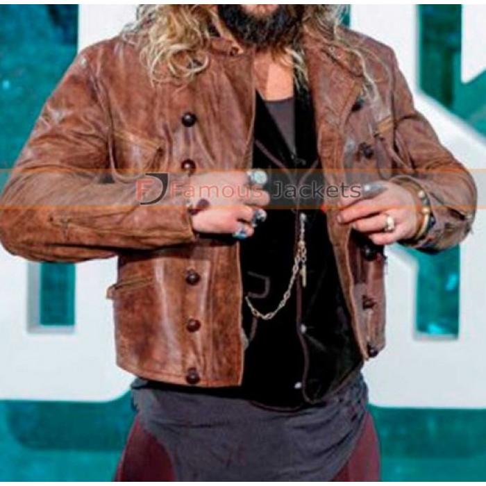 Arthur Curry Justice League Jason Momoa Distressed Fur Jacket