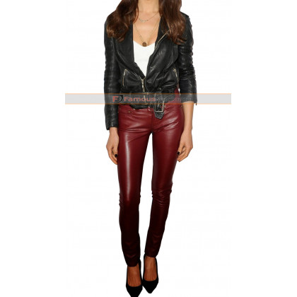 Maggie Q Slimfit Leather Pant And Jacket