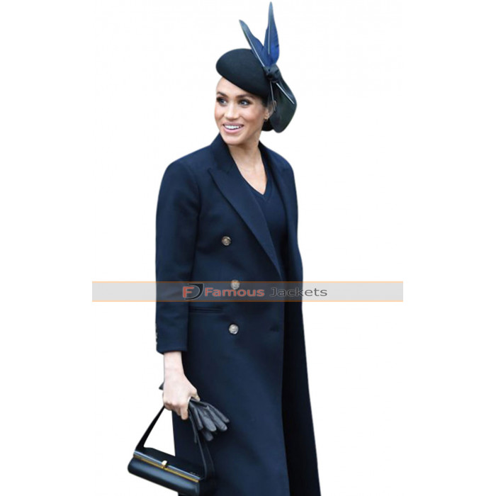Meghan Markle Navy Blue Trench Coat