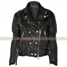 Sienna Miller Black Burberry Biker Leather Jacket