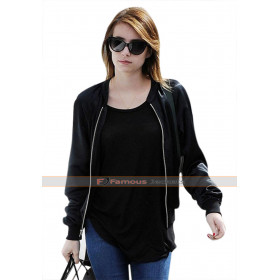 Emma Roberts out in Los Angeles Black Jacket