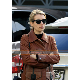 Emma Roberts Step Out Lunch Brown Trench Coat