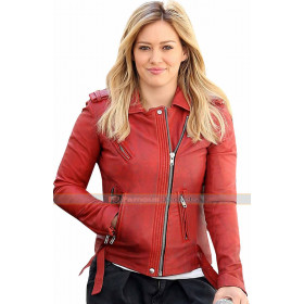 Younger Hilary Duff Kelsey Peters Red Leather Jacket