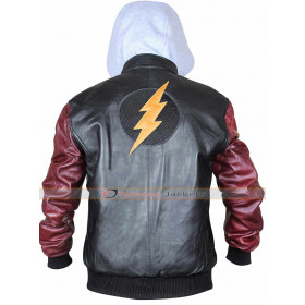 Justice League The Flash Barry Allen Hoodie Black Leather Jacket