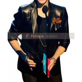 2010 Music Awards Winners Justin Bieber Black Leather Jacket