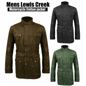 Mens Lewis Creek Motorcycle Biker Waxed Belted Cotton Jacket