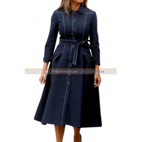 Memorial Day 9/11 Melania Trump Navy Blue Trench Coat