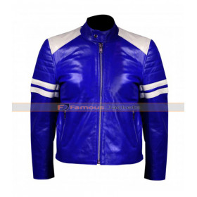 Men White Stripes Blue Motorcycle Leather Jacket