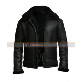 Men's Black Aviator B3 Sheepskin Fur Leather Jacket