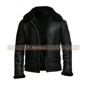 Men's Black Aviator B3 Sheepskin Flying Pilot Fur Leather Jacket