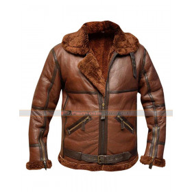 RAF B3 British Flying Pilot Aviator Fur Shearling Bomber Leather Jacket