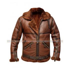 RAF B3 British Flying Pilot Aviator Fur Shearling Bomber Leather Jacket