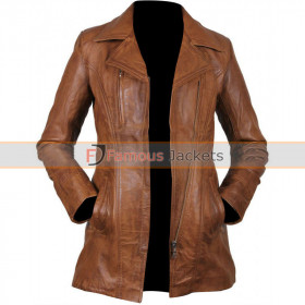 Women Brown Leather Long Jacket