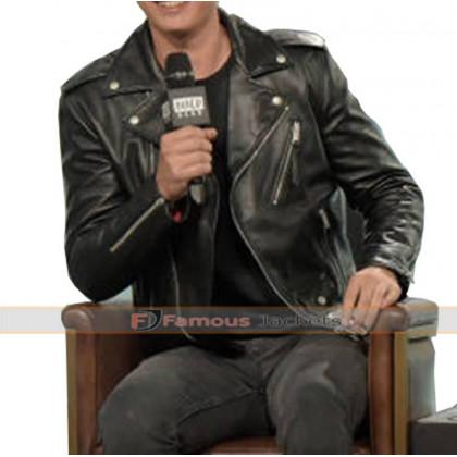 Baby Driver Ansel Elgort Black Biker Leather Jacket
