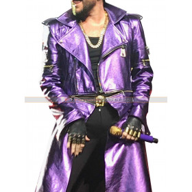 Adam Lambert Purple Leather Jacket