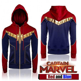 Brie Larson Captain Marvel Red & Blue Costume Hoodie