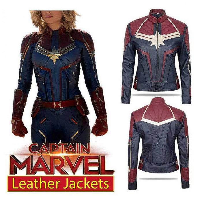 Carol Danvers Captain Marvel Costume Womens Leather Jacket Featuring an antiqued brass tone zipper with her star insignia pull, that matches the three zippered. carol danvers captain marvel costume womens leather jacket