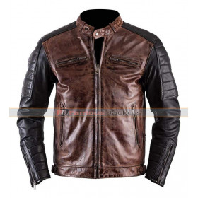 Café Racer Quilted Brando Motorcycle Leather Jacket