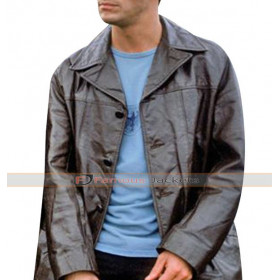 Dominic West The Wire Black Leather Coat