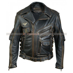 Classic Vintage Biker Leather Jacket For Men