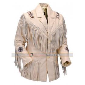 Native American White Fringe Western Suede Leather Jacket