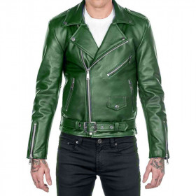 Mens Cafe Racer Vintage Green Brando Jacket