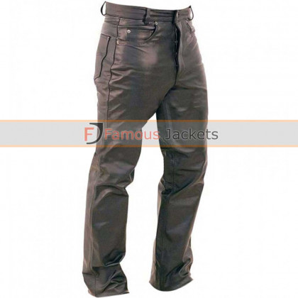 Mens Button Fly Black Leather Pants
