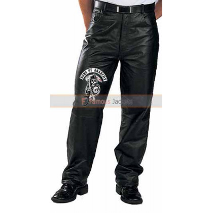 Sons Of Anarchy Motorcycle Leather Pants With Patches