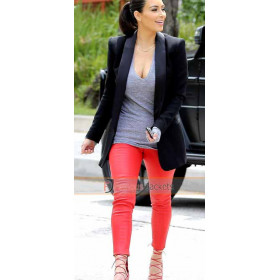 Kim Kardashian Red Leather Pants