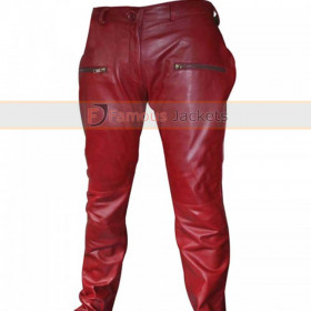 Kylie Jenner Parker Burgundy Leather Zip Pants