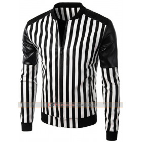 Designers Slim Fit Black and White Stripes Jacket