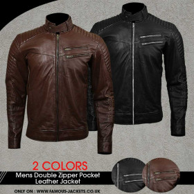 Mens Double Zipped Pockets Real Leather Jacket