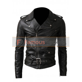 Men / Women Belted Rider Black Leather Jacket