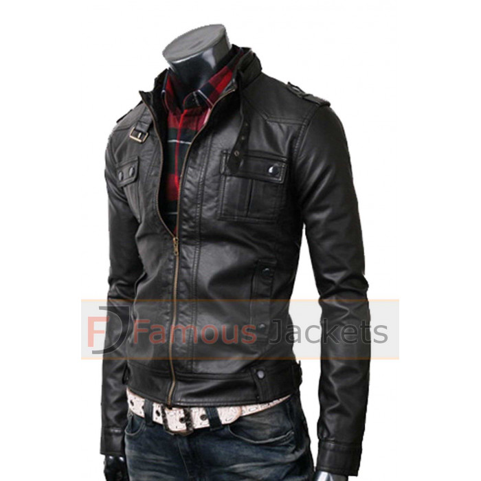 8f39d18db Mens Strap Pocket Slim Fit Black Biker Leather Jacket