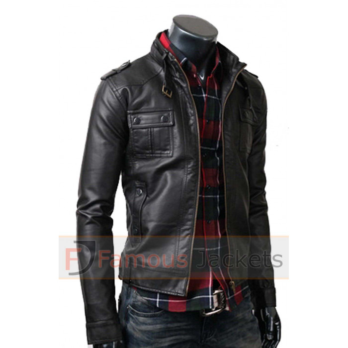 Factoryextreme neptune mens black biker leather jacket