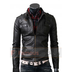 Mens Strap Pocket Slim Fit Black Biker Leather Jacket