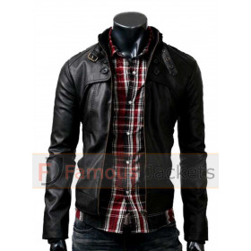 Slim Fit Button Pocket Black Zipper Leather Jacket